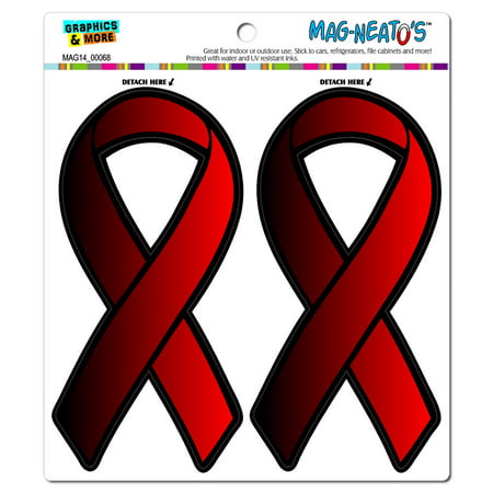 Red Awareness Support Ribbon - AIDS HIV MAG-NEATO'S(TM) Car/Refrigerator Magnet Set - Hiv Ribbon