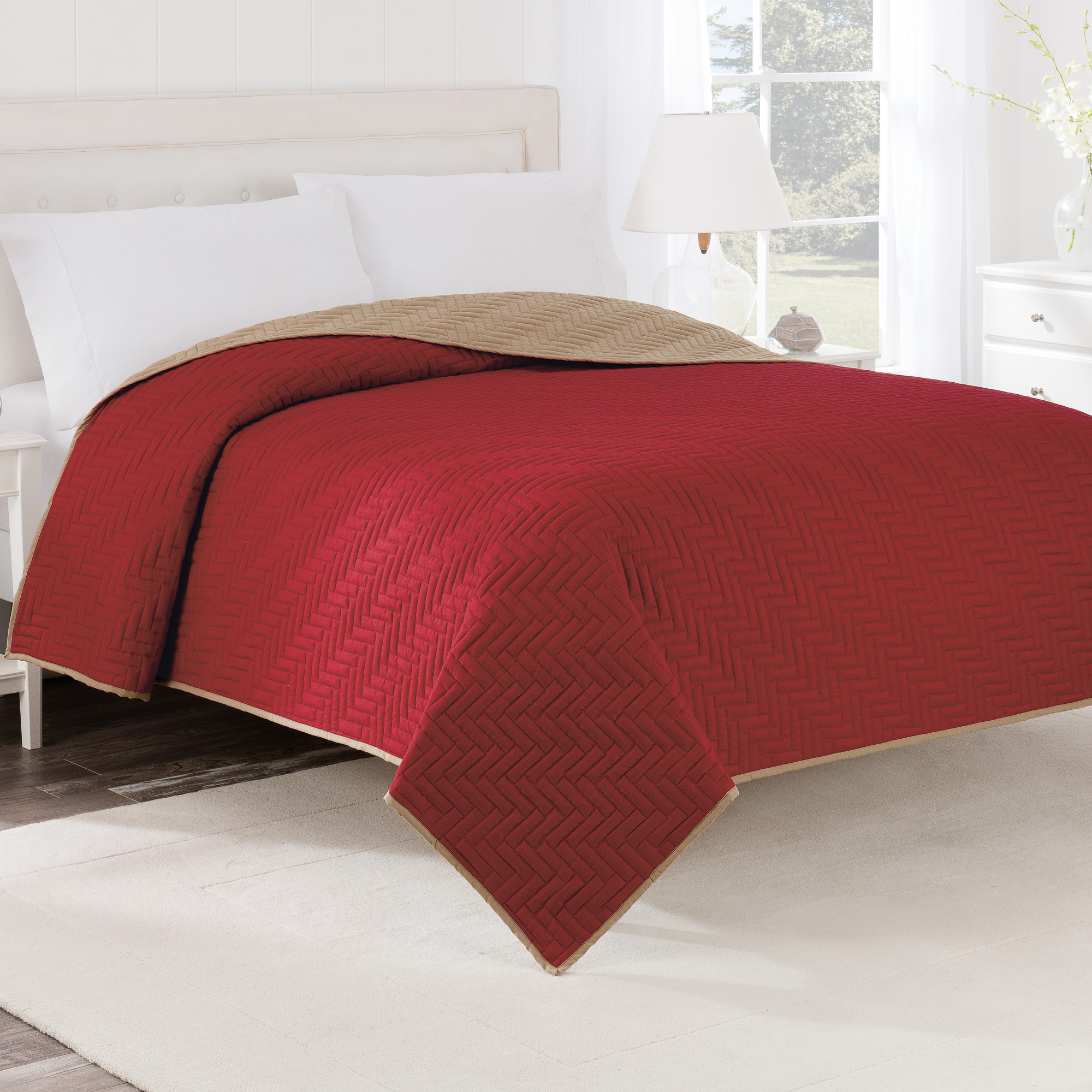 Reversible Twin Graphite/Navy Coverlet