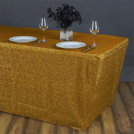 Efavormart 6 Ft Rectangle Table cover Metallic Shiny Glittered Spandex Tablecloth For Wedding Party Event Banquet Table Decor