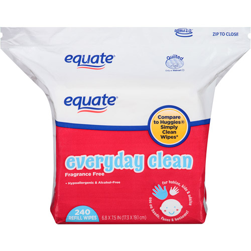 Equate Everyday Clean Fragrance Free Refill Wipes, 240 sheets