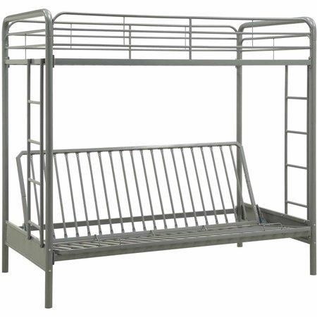 twin over futon bunk bed frame w ladder metal kids dorm w