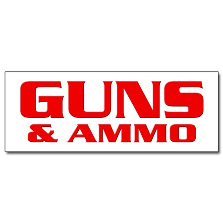 "12"" GUNS & AMMO DECAL sticker gun rifle pistol firearms ammunition pawn target thumbnail"