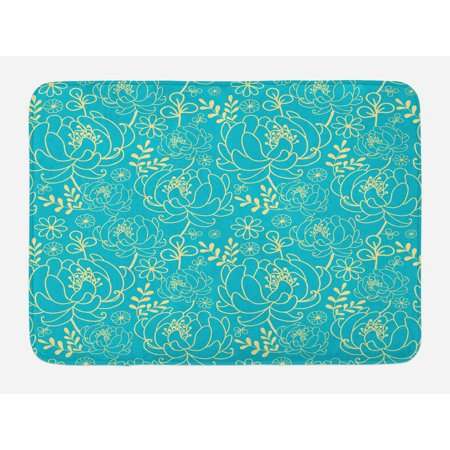 Essence Slip - Yellow and Blue Bath Mat, Classic Floral Twig Leaves Blooms Petals Essence Flowers Design, Non-Slip Plush Mat Bathroom Kitchen Laundry Room Decor, 29.5 X 17.5 Inches, Turquoise Pale Yellow, Ambesonne