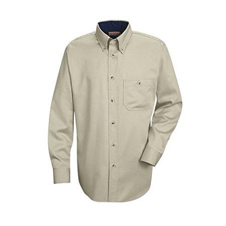 Mens 7 Stone (Red Kap SC74ST3 Men's Cotton Contrast Dress Shirt (Stone,)