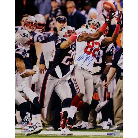 "Mario Manningham Signed Super Bowl XLVI Catch Vertical 16"" x 20"" Photo by"