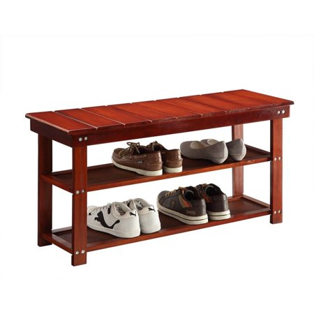 Convenience Concepts Oxford Utility Mudroom Entryway Bench in Cherry Wood Finish - image 2 de 3