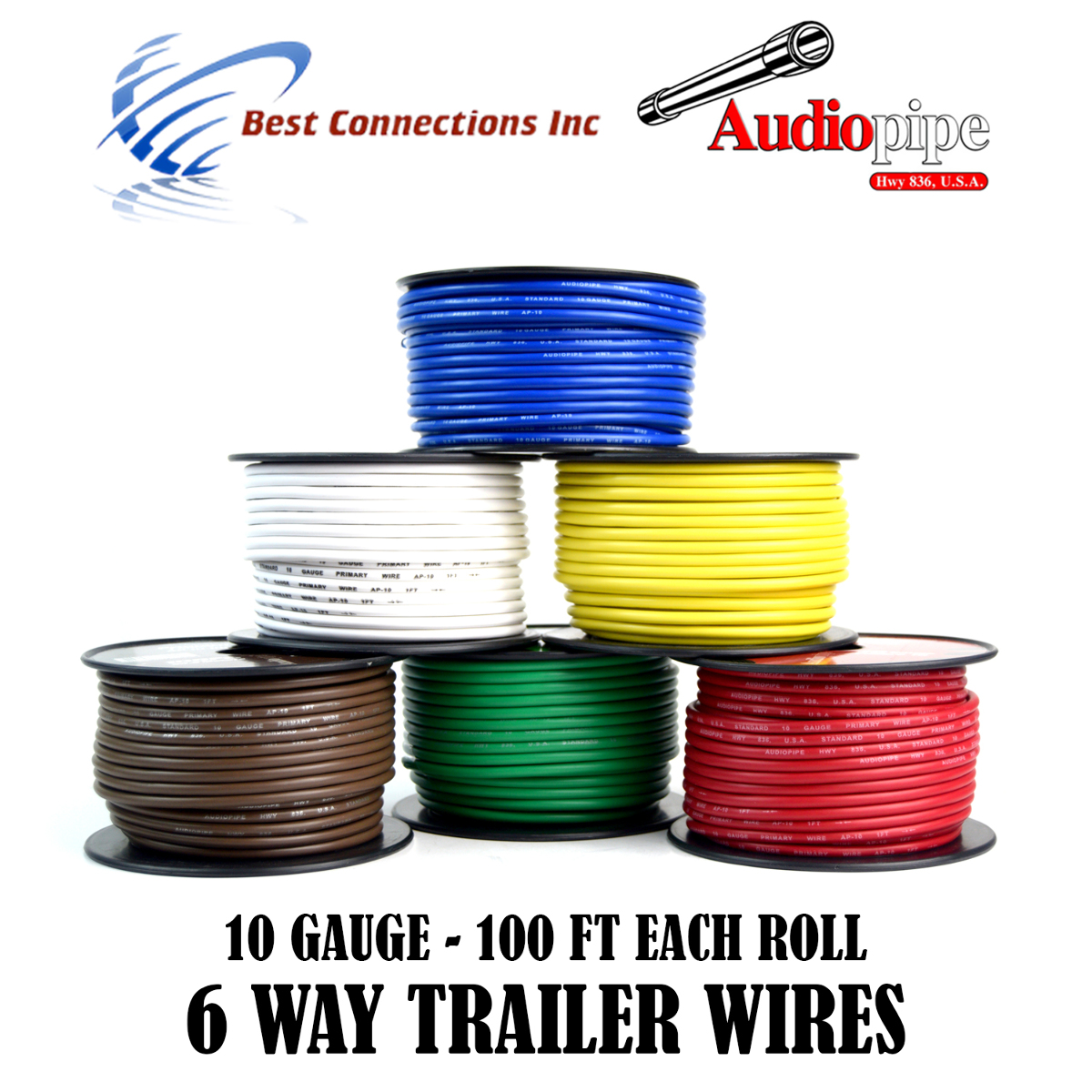 6 Way Trailer Wire Light Cable for Harness LED 100ft Each Roll 10 Gauge 6 Rolls