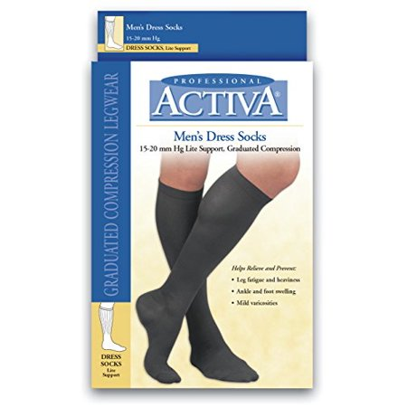 Image of Activa Men's 15 20 Mmhg Dress Socks Brown Small