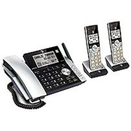 Refurbished ATT CL84215 DECT 6.0 Expandable Cordless Phone System with 2 Handsets - Black, - Att Expandable Phone