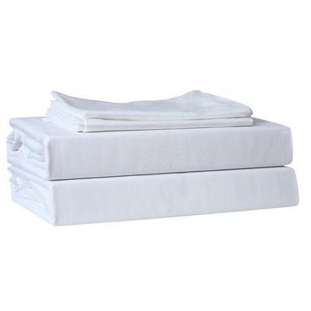 Just Linen 220 Thread Count 100% Cotton Sateen, Solid White, King Bedding Sheet Set with 18 Inches Deep Pocketed Fitted Sheets