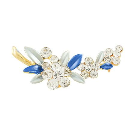 - Ladies Glittery Rhinestone Flower Two Tone Blue Leaf Pin Brooch