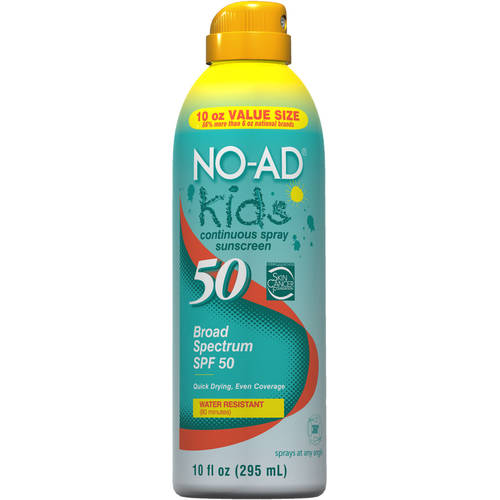 No-Ad Kids Continuous Spray Sunscreen SPF 50, 10.0 Fl Oz