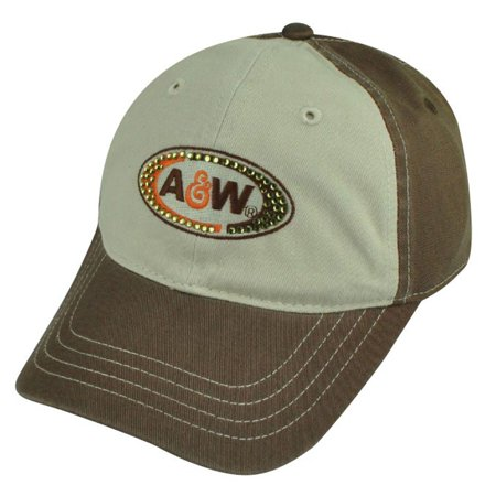 Style Rhinestone Hat (A&W Branded Root Beer Restaurant Rhinestone Women Ladies Garment Wash Hat Cap)
