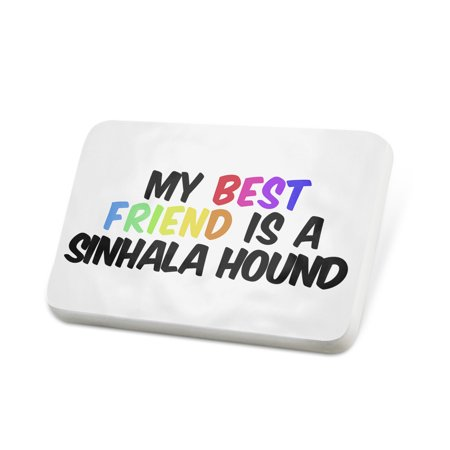 Porcelein Pin My best Friend a Sinhala Hound Dog from Sri Lanka Lapel Badge –