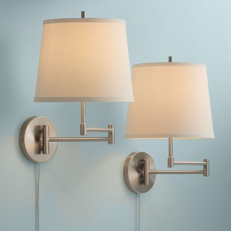 360 Lighting Modern Swing Arm Wall Lamp Set Of 2 Brushed Nickel Off White Shade For Bedroom Living Room Reading