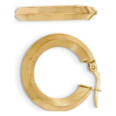 14k Boucles d'oreilles en or jaune satin? et poli (biseaut?s bord Hoop 27x27mm) - image 2 de 2
