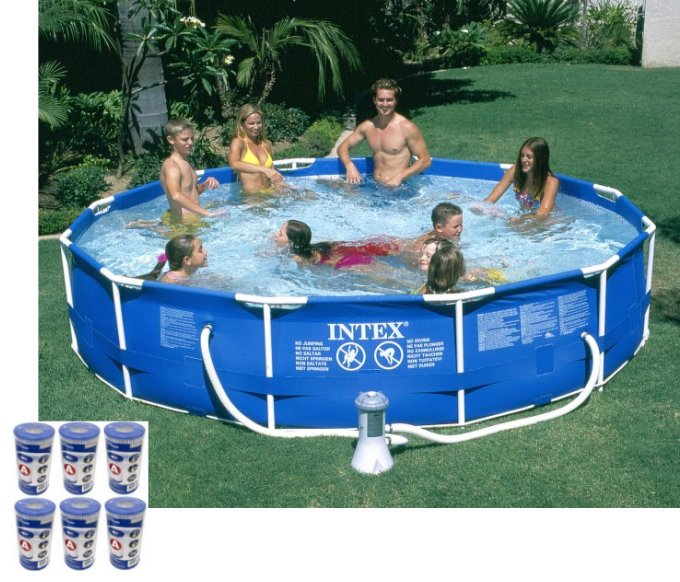 "Intex 12' x 30"" Metal Frame Set Swimming Pool w  530 GPH Pump & Filters |28211EH by Intex"