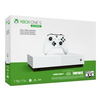 Microsoft Xbox One S 1TB All Digital Edition Console (Disc-free Gaming), White, NJP-00050