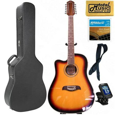Oscar Schmidt LEFT HAND 12-String A/E Guitar, Active EQ, Sunburst, Case Bundle OD312CETSLH CASEPACK ()