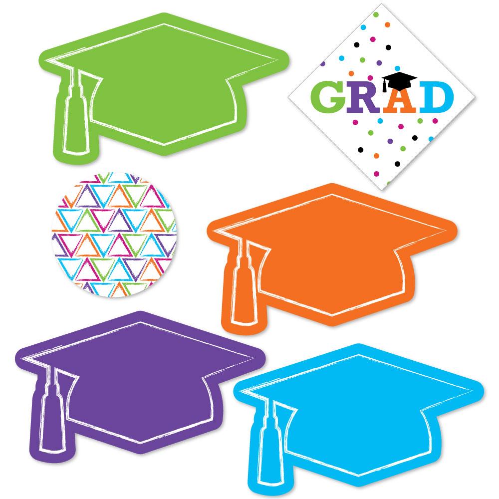 Hats Off Grad - DIY Shaped Graduation Party Cut-Outs - 24 Count