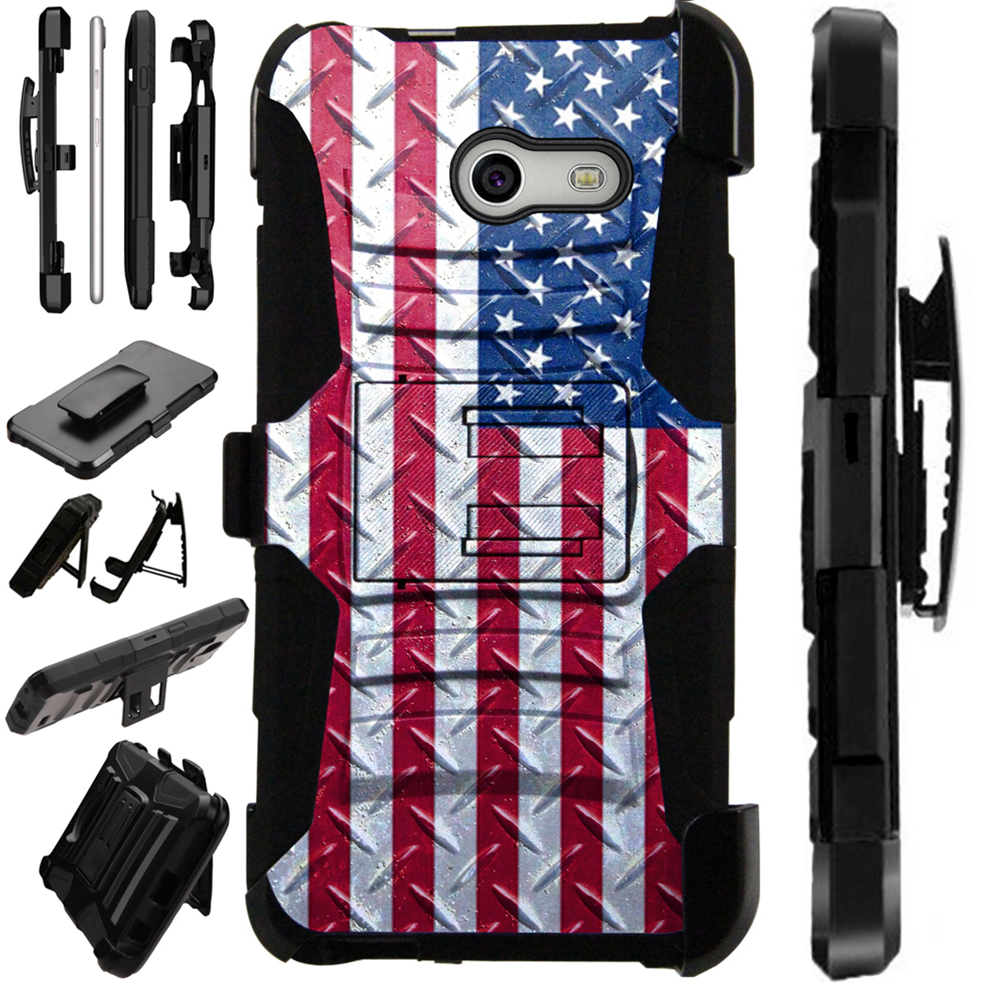 LuxGuard Phone Case Cover For Samsung Galaxy J7 J7V (2017) | J7 Sky Pro | J7 Perx  (US Flag Crosshatch)