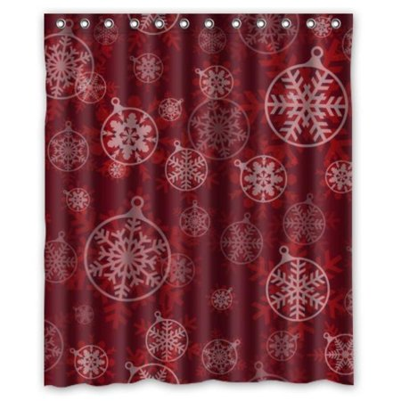 Fantastic Beautiful Snowflake In Circle Design Red Shower Curtain 60x72 Waterproof Polyester Fabric