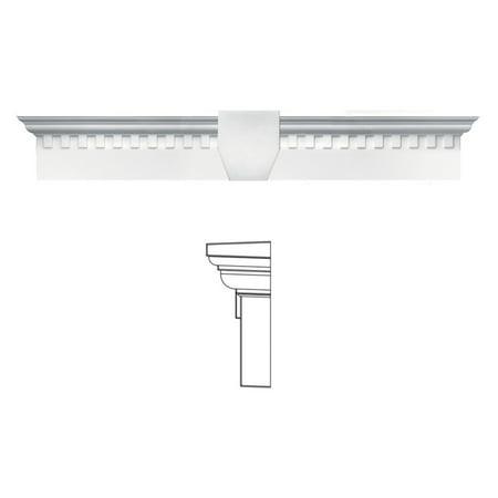 Exterior Window Moulding (Builders Edge 6H in. Dentil Window Header with Keystone)