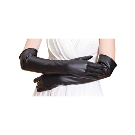 Simplicity Women's Flirty Wet Look Faux Leather Elbow Length Party Gloves
