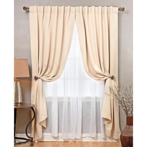 Aurora Home Mix And Match Blackout With Crushed Voile Sheer 4 Piece