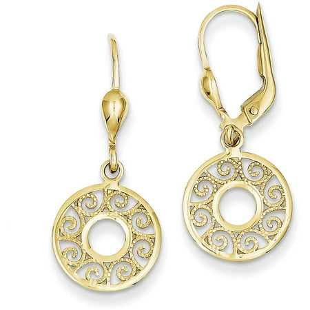 14kt Yellow Gold Leverback Filigree Earrings