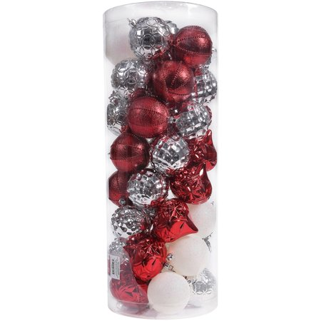 Holiday Time 50-Count Shatterproof Ornaments, Red & Silver