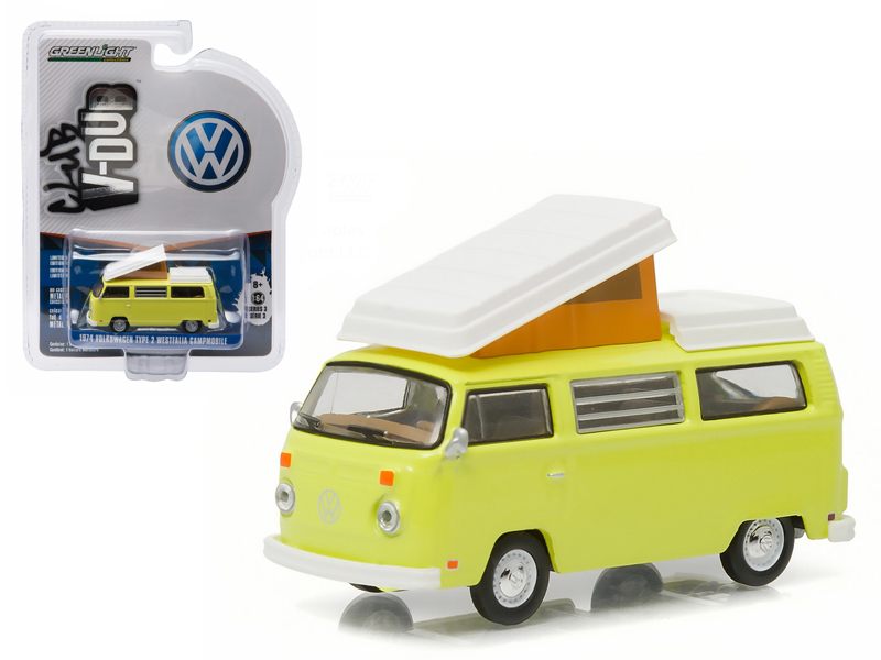 1974 Volkswagen Type 2 Bus (T2B) Westfalia Campmobile Yosemite Yellow 1 64 Diecast Model... by GreenLight