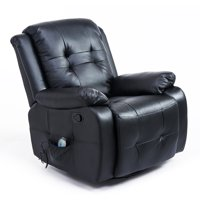 Homcom PU Leather Heated Vibrating Massage Recliner Chair with Remote (Black)