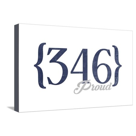 Houston, Texas - 346 Area Code (Blue) Stretched Canvas Print Wall Art By Lantern Press ()