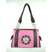 Accessories Plus OS-893 HPK Ostrich Handbag, Hot Pink
