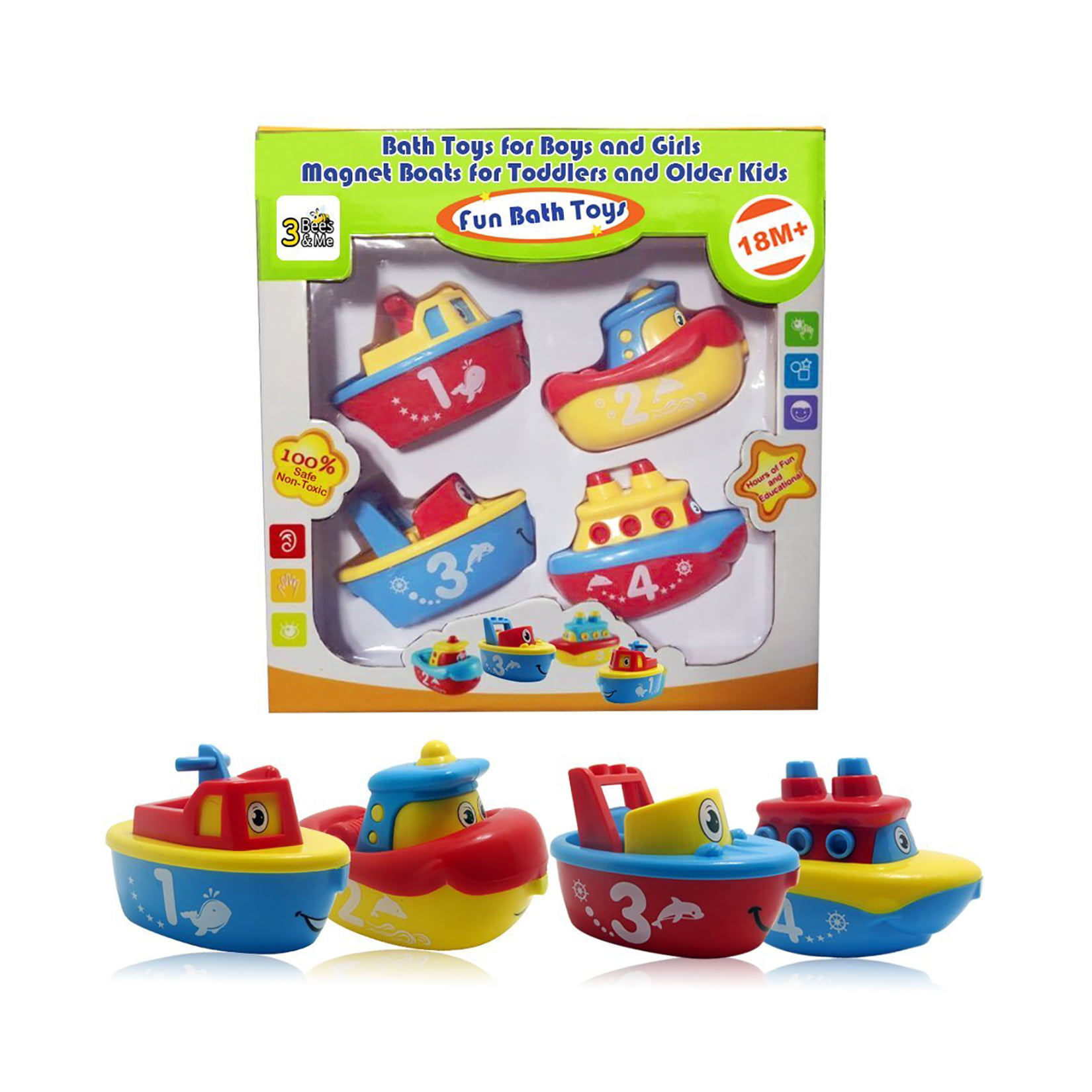 3 Bees & Me Bath Toys for Boys and Girls Magnet Boats for Toddlers and Older Kids Fun and Educational 4 Boat... by 3 Bees and Me