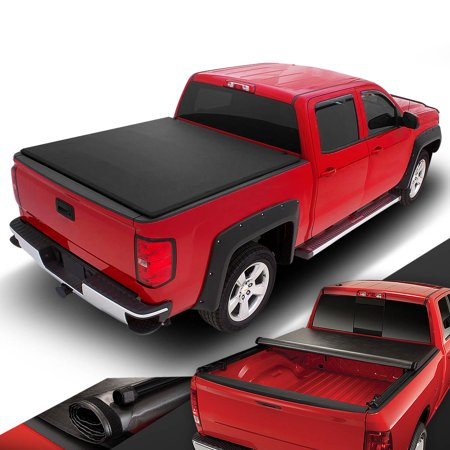 For 2007 to 2014 Chevy Silverado / GMC Sierra 5.8Ft Short Bed Roll -Up Soft Vinyl Tonneau Cover 08 09 10 11 12 (Best Roll Up Tonneau Cover For The Money)