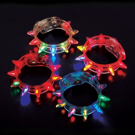 Led Light Bracelet (24 Light Up Flashing Spike LED Bracelet - Multi-Colored - Party)