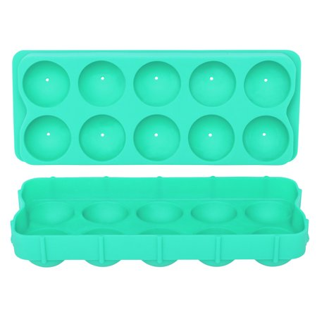 HIC Silicone Cannonball Sphere Whiskey Ice Ball Mold Tray, Vintage Blue ()
