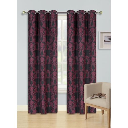 F3 RED 1-PC Printed BLACKOUT Room Darkening Window Curtain Treatment, One (1) Insulated Thermal Panel 37