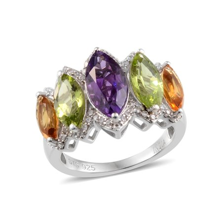 7486d61f8e Cluster Ring Silver Platinum Plated Amethyst Peridot Jewelry for Women Size  7