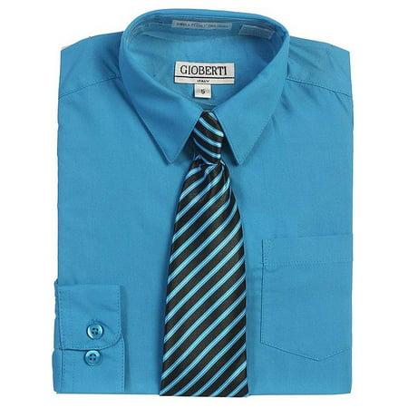 e6123c58 B-One - Turquoise Button Up Dress Shirt Black Striped Tie Set Boys 5 ...