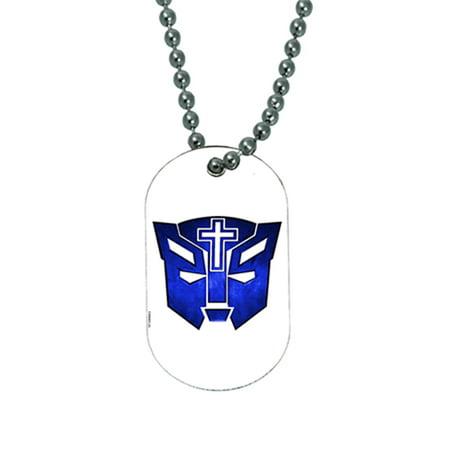 KuzmarK Pendant Dog Tag Necklace - Transformer Christian Cat Blue