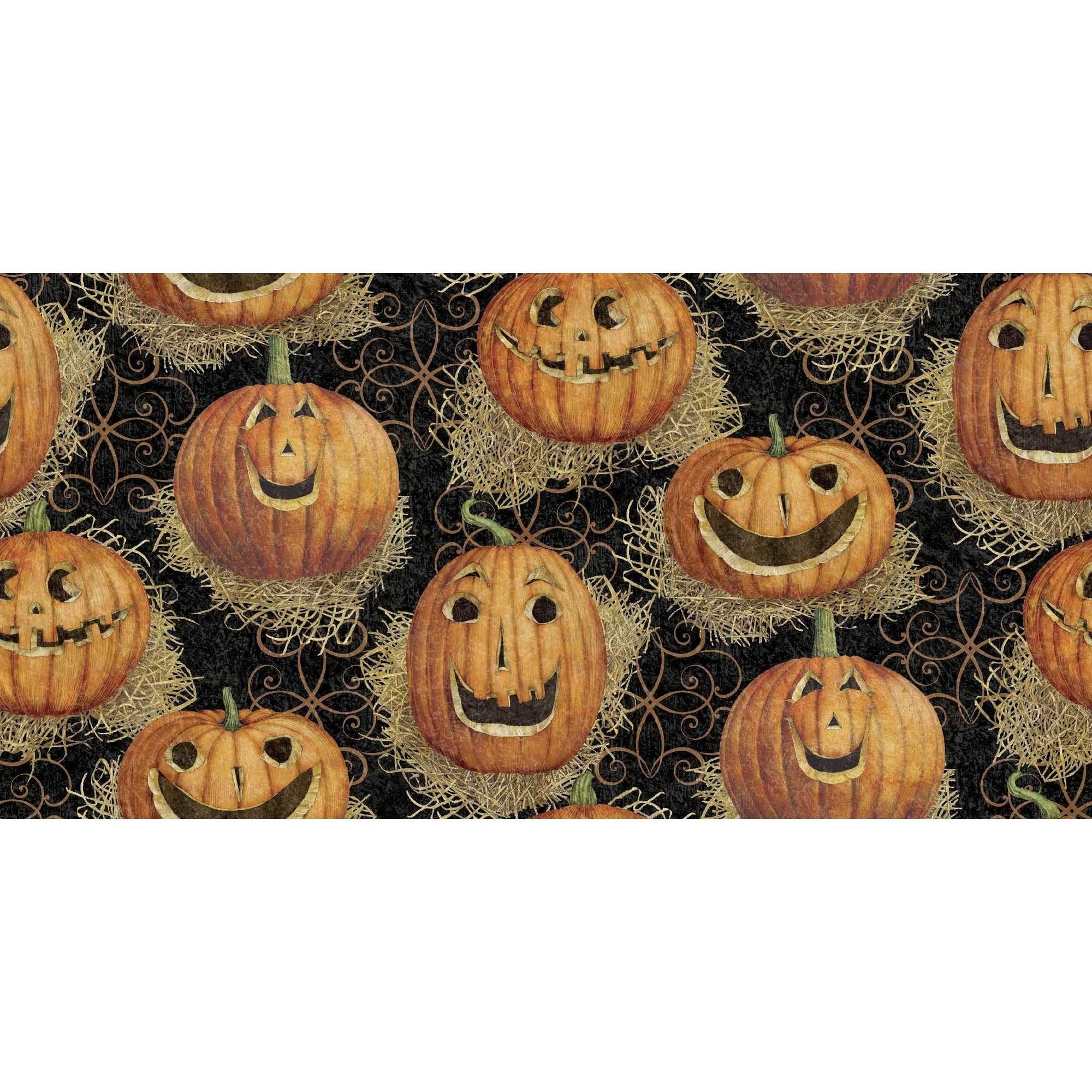 "Halloween Pumpkin Faces, Multi-Colored, 100 Percent Cotton, 43/44"" Width, Fabric by the Yard"