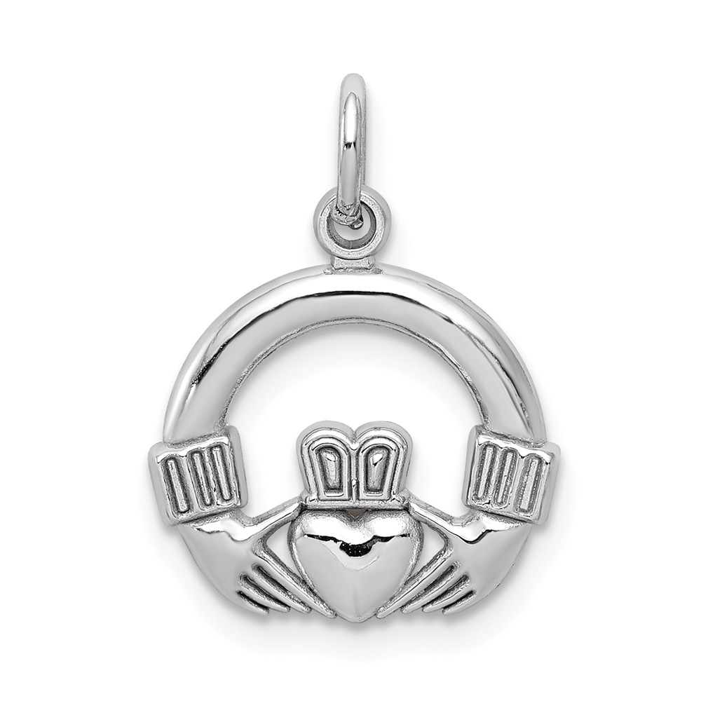 10k White Gold Claddagh Charm Pendant
