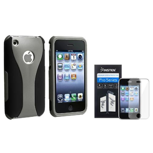 Insten Grey/Black 3-Piece Cup Shape Rubber Hard Case Cover+LCD Film For iPhone 3 G 3GS