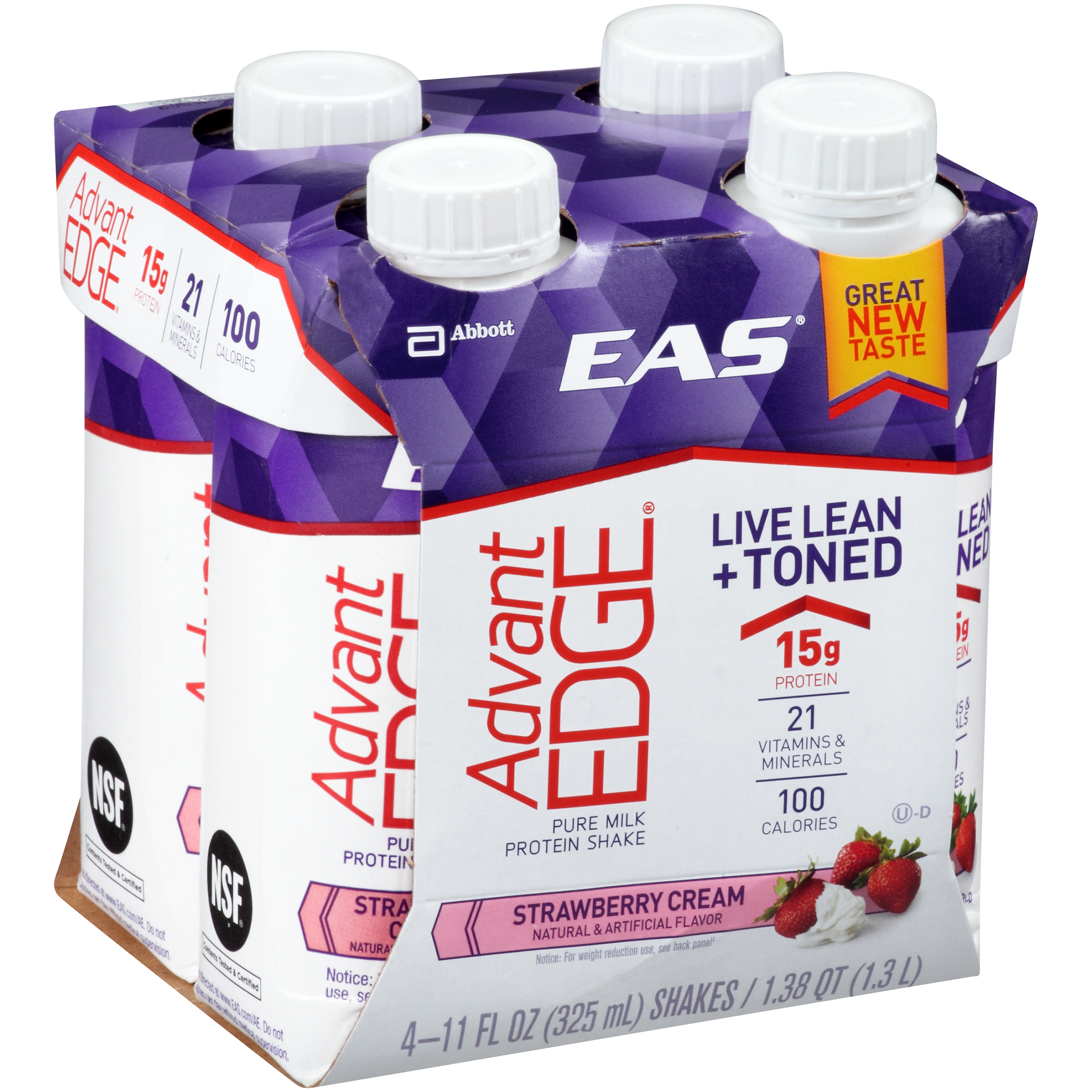 EAS AdvantEDGE Carb Control Ready-to-Drink Shake, Strawberry Cream,�� 11 fl oz��(Pack of 4)