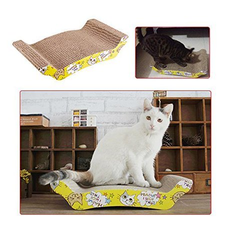 Zimtown Cat Scratcher Durable Reversible Cat Scratcher Lounge Scratching Pad Recycled Harden Corrugated Cardboard Sturdy Eco-Friendly Design