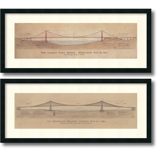 Amanti Art 'Golden Gate Bridge, Brooklyn Bridge' by Craig S. Holmes 2 Piece Framed Graphic Art Set