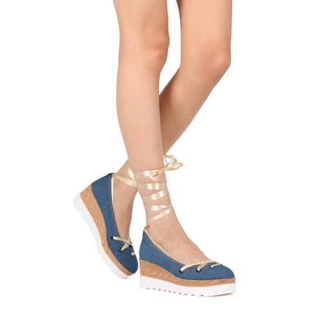 c2f4c8aab07 Women Denim Lace Up Ankle Wrap Double Stacked Wedge Heel - IA34 By Cape  Robbin